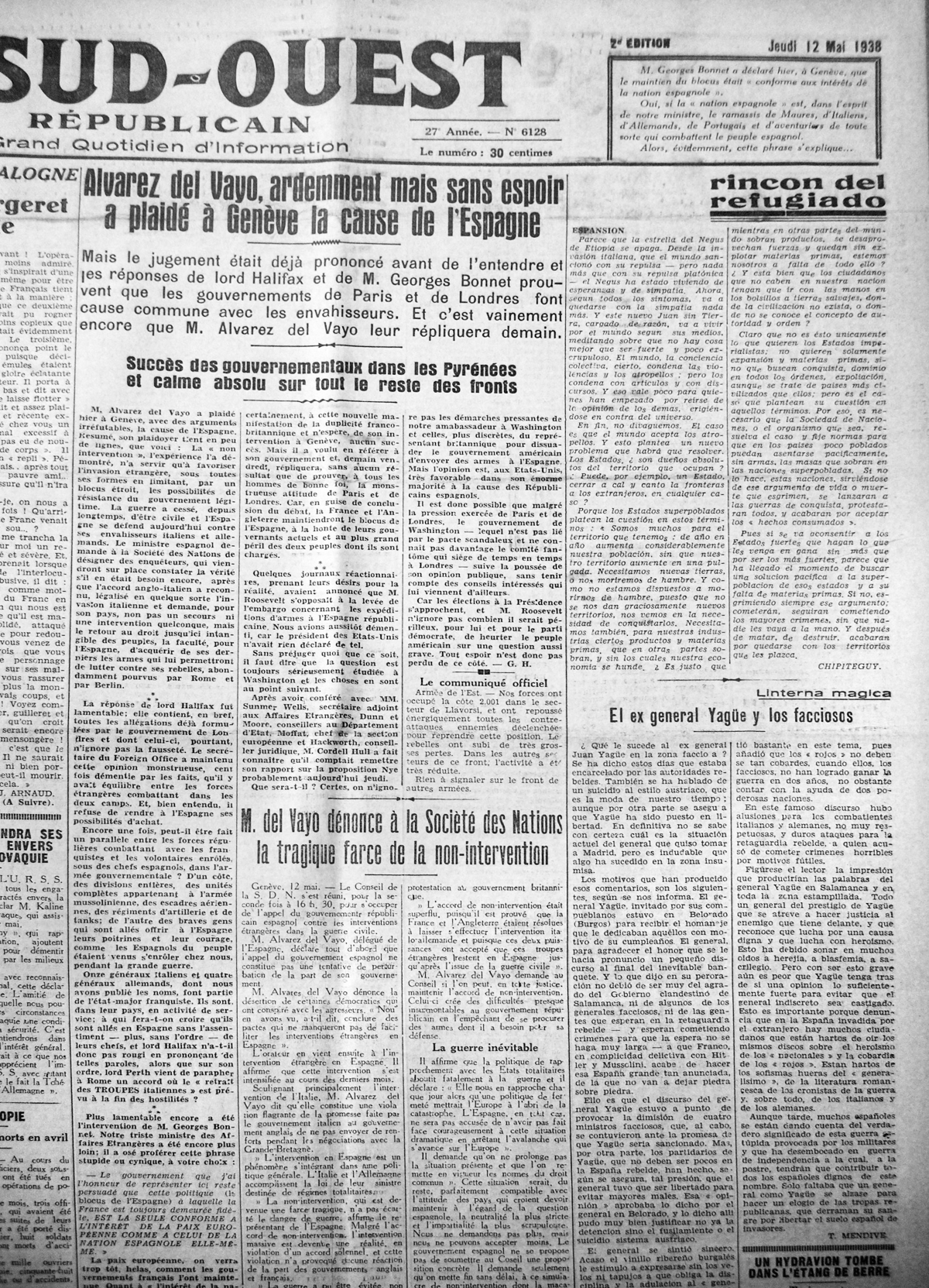 Sud-Ouest, 12 mayo 1938