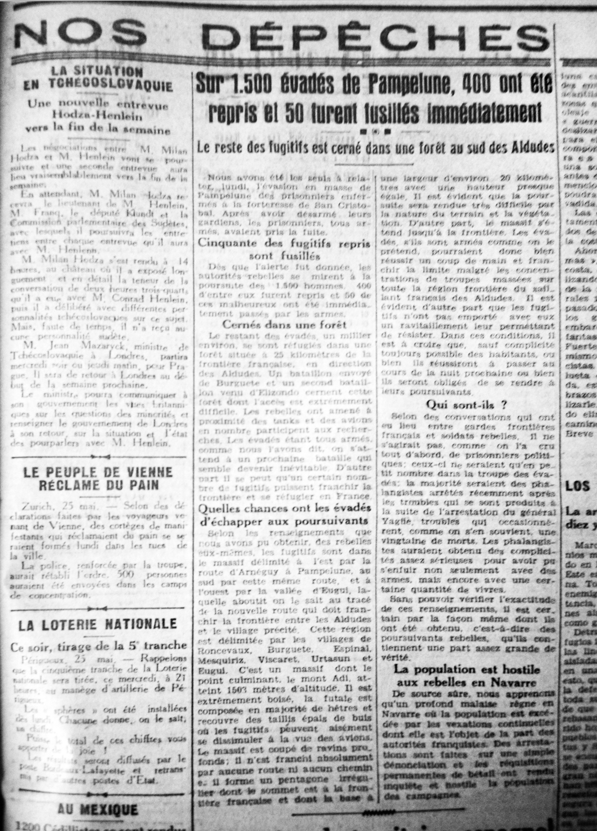 Sud-Ouest, 25 mayo 1938